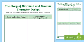 The Story of Diarmuid and Gráinne Character Design Activity Sheet - Myths, Legends, Irish Tales, Celtic, The Fianna, worksheet
