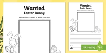 Wanted! Easter Bunny Activity Sheet - CfE Easter,WANTED posters,Easter bunny,character description,Scottish, Religious and moral education
