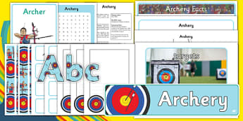 The Olympics Archery Resource Pack - Olympics, Olympic Games, sports, Olympic, London, 2012, role play, play, role play pack, pack, Olympic torch, flag, countries, medal, Olympic Rings, mascots, flame, compete, archery, archer, bowman, bow, arrow, ta