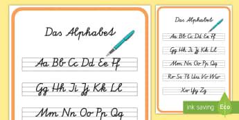 Das Alphabet in Schreibschrift Poster Format A4-German - Das Alphabet, das ABC, Alphabet, Alphabet lernen, das ABC lernen, Schreibschrift, Alphabet Schreibsc