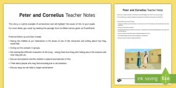 Peter and Cornelius Teacher Guide - Northern Ireland Curriculum RE Reconciliation Peter Cornelius Jew Gentile sectarianism