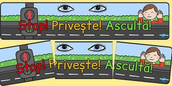 Stop! Privește! Ascultă! - Banner - privește, ascultă, stai, banner, de afișat, reguli, clasă, materiale didactice, română, romana, material, material