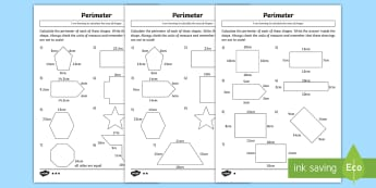 Perimeter Differentiated Activity Sheets - CfE, maths, First level, perimeter, measure, actvity sheets, differentaited ,Scottish, worksheets
