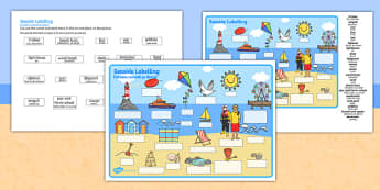 Seaside Scene Labelling Activity Sheet Romanian Translation - romanian, seaside, beach, seaside labelling worksheets, seaside scene worksheets, seaside key words worksheet, seaside words