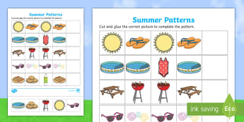 Summer Patterns Activity Sheet - summer patterns, summer, patterns, activity, activity sheet