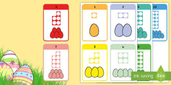 Easter Eggs and Number Shapes Flashcards - Easter, count, egg, chocolate, numicon, number shapes