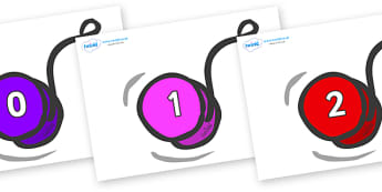 Numbers 0-31 on YoYos - 0-31, foundation stage numeracy, Number recognition, Number flashcards, counting, number frieze, Display numbers, number posters