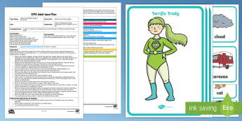 EYFS Superhero Phoneme Juggle Adult Input Plan and Resource Pack - EYFS Phase 1 Aspect 5: Alliteration, letters and sounds, phonics, initial phoneme, match, sounds, li