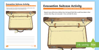 Scotland in the Second World War Evacuation Suitcase Activity Sheet-Scottish - Scotland in World War II, Scottish, Curriculum, CfE, excellence, evacuees, evacuation, Second World