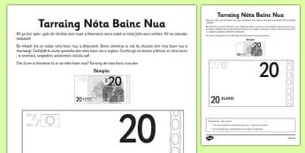 Tarraing Nóta Bainc Nua - bank note, euro, design, money, Gaeilge, Irish, activity sheet