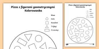 Kolorowanka Pizza z figurami geometrycznymi - pizza, jedzenie, pizzeria, figury, geometria, geometryczne, koło, kwadrat, trójkąt, prostokąt, k