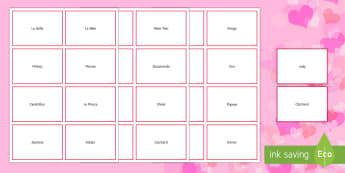 French Valentine's Day Famous Couples Matching Cards - Valentine's Day, French, 14th February, Saint Valentin, couples, célèbre, famous, couple, matchin
