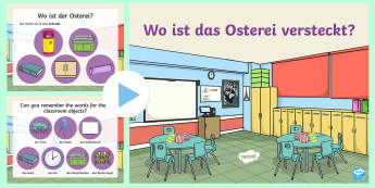 Classroom Vocabulary Easter Egg Hunt PowerPoint - German - Easter, Classroom, German, Furniture, Classroom objects