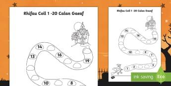 Taflen Weithgaredd Rhifau Coll i 20 Tŷ Bwganllyd - Halloween mathematics, missing numbers, calan, gaeaf, mathemateg, rhifau coll, 1 - 20,Welsh