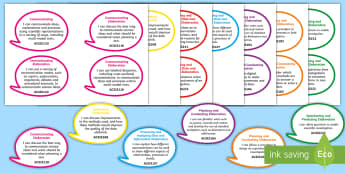 Year 6 Australian Curriculum Science Inquiry Skills: I Can Speech Bubbles - grade 6, science outcomes, learning intentions, walf, wilf, tib, Australian science, science assessm