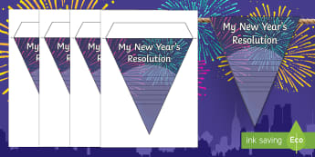 New Year's Resolution Display Bunting - New year's eve, new year, new year's resolutions, bunting, display