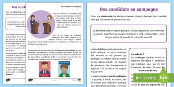 Fiche documentaire : Des candidats en campagne - élections, elections, candidats, candidates, vote, cycle2, KS1, cycle 3, KS2, débat, debate, progr