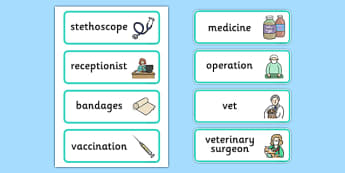 Vets Surgery Labels - Vet Surgery, pets, pet, role play, vets role play, labels, label, vet, operation, xray, nurse, medicine, vaccine, bandage, cat, dog, rabbit