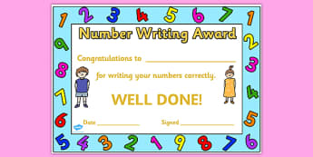 Number Writing Award Certificate - number, number writing, award certificate, award, certificate, reward certificate, award templates, behaviour management