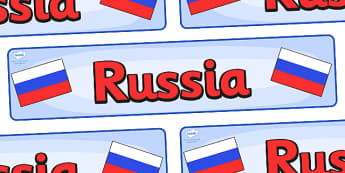 Russia Display Banner - Russia, Olympics, Olympic Games, sports, Olympic, London, 2012, display, banner, sign, poster, activity, Olympic torch, flag, countries, medal, Olympic Rings, mascots, flame, compete, events, tennis, athlete, swimming
