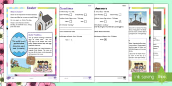 Easter Differentiated Reading Comprehension Activity - KS1, Easter, Year 1, Year 2, Key Stage One, Year One, Year Two, Easter Story, Jesus, Cross, Last Sup