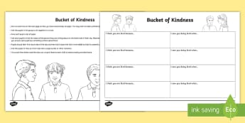 Bucket of Kindness Activity - emotions, young people, PSHCE, friendship, group work, circle time