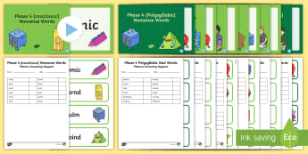 Phase 4 Phonics Screening Check Resources Support Pack - Phonics Screening Check Resources, Year 1, letters and sounds, Phase 4, nonsense words, real words,