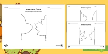 Simetrie cu frunze de toamnă Fișe de activitate - simetric, logică, matematică, activități de toamnă, fișe,Romanian