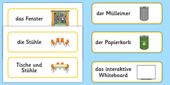 Classroom Furniture Labels German - german, Classroom furniture, furniture label, door, chair, table, window, desk, carpet, bin, dustbin, whiteboard, chalkboard, classroom areas