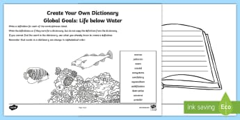 Global Goals Life Below Water Create Your Own Dictionary Activity Sheet - Learning For Sustainability, UNICEF, GG14, fish, marine life, worksheet