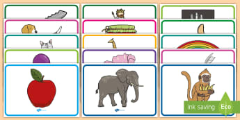 Initial Sound Picture Mats  - initial sound, picture, square, peg, labels, display,lebels,labeles