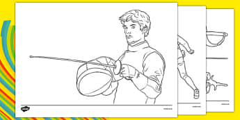 The Olympics Fencing Colouring Sheets - Fencing, Olympics, Olympic Games, sports, Olympic, London, 2012, colouring, fine motor skills, poster, worksheet, vines, A4, display, activity, Olympic torch, events, flag, countries, medal, Olympic Rings, masc