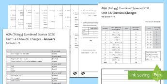 AQA (Trilogy) Unit 5.4 Chemical Changes Test - KS4 Assessment, Test, chemistry, electrolysis, metals, reactivity of metals, reactivity series, elec
