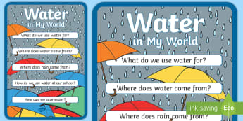 Water in Our World Classroom Display Posters - Science Water Resources, water, conservation, science, water usage, display, display posters, umbrel