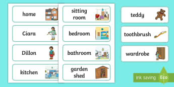 Home Sweet Home Word Cards - Aistear, Exploring My World, Houses, Homes, Sitting Room, Kitchen, Bathroom, Bedroom, Shed , Literac