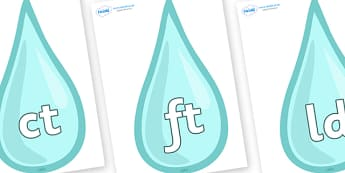 Final Letter Blends on Water Drops - Final Letters, final letter, letter blend, letter blends, consonant, consonants, digraph, trigraph, literacy, alphabet, letters, foundation stage literacy