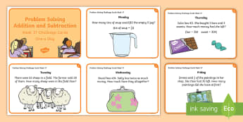 Week 17 - Problem Solving Challenge Cards - RUDE, Word Problems, Addition, Subtraction, Sloving,Irish