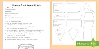 Quadrilateral Mobile Craft - shapes, geometry, quadrilaterals, third grade, common core, square, rectangle, rhobus, trapezoid, ki