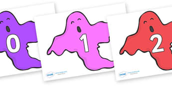 Numbers 0-50 on Ghosts (Multicolour) - 0-50, foundation stage numeracy, Number recognition, Number flashcards, counting, number frieze, Display numbers, number posters