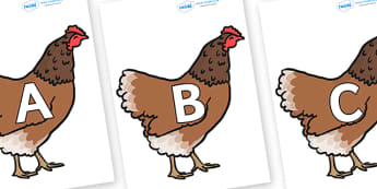 A-Z Alphabet on Hens - A-Z, A4, display, Alphabet frieze, Display letters, Letter posters, A-Z letters, Alphabet flashcards