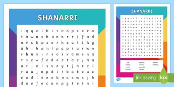 SHANARRI Word Search - CfE Health and Wellbeing Resources, SHANARRI, hwb, wordsearch, Safe, healthy,    Active, Nurtured, A