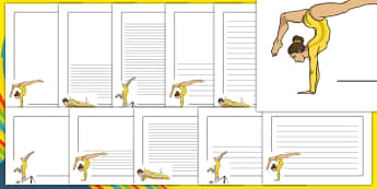 The Olympics Artistic Gymnastics Page Borders - Gymnastics, Olympics, Olympic Games, sports, Olympic, London, 2012, page border, border, writing template, writing aid, writing, activity, Olympic torch, events, flag, countries, medal, Olympic Rings