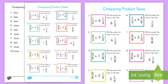 Comparing Product Sizes Activity Sheet - multiplication, products, factors, fractions, mixed numbers, comparisons, worksheet