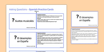 GCSE Spanish Asking Questions Practice Cards Higher
