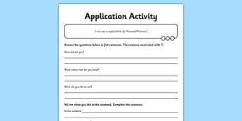 Person Pronoun I Application Sheet - GPS, spelling, punctuation, grammar, personal pronoun