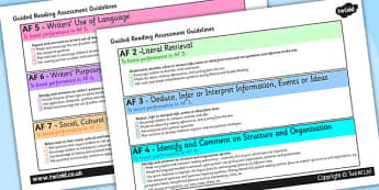 Guided Reading Assessment Guidelines Landscape - guided reading, reading guidelines, AF, assessment focus guided reading, af checklist, landscape checklist
