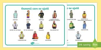 Meserii - Planșe cu vocabular Planșe cu vocabular - meserii, română, planșe, materiale, Romanian