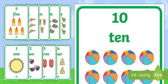 Summer Themed 1 to 10 Word and Number Display Posters - Summer Themed Number Posters with Words & Numbers (1-10) -  summer, numeracy, counting, number poste