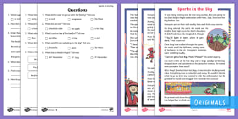 Sparks in the Sky Differentiated Reading Comprehension Activity - fireworks, bonfire night, bonfire, sparklers, Twinkl fiction, Question, Answer, Text, Find, Quote, k