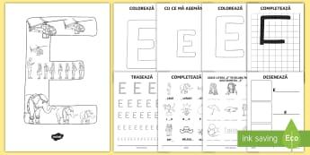 Consolidarea literei E Broșură - alfabetul, alfabetar, litere, sunete, grafisme,Romanian